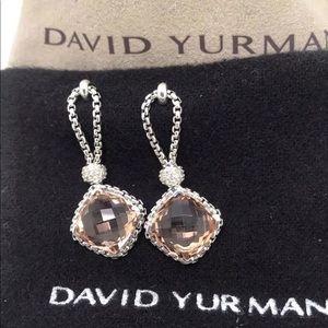 David Yurman Morganite Cushion on Point Earrings